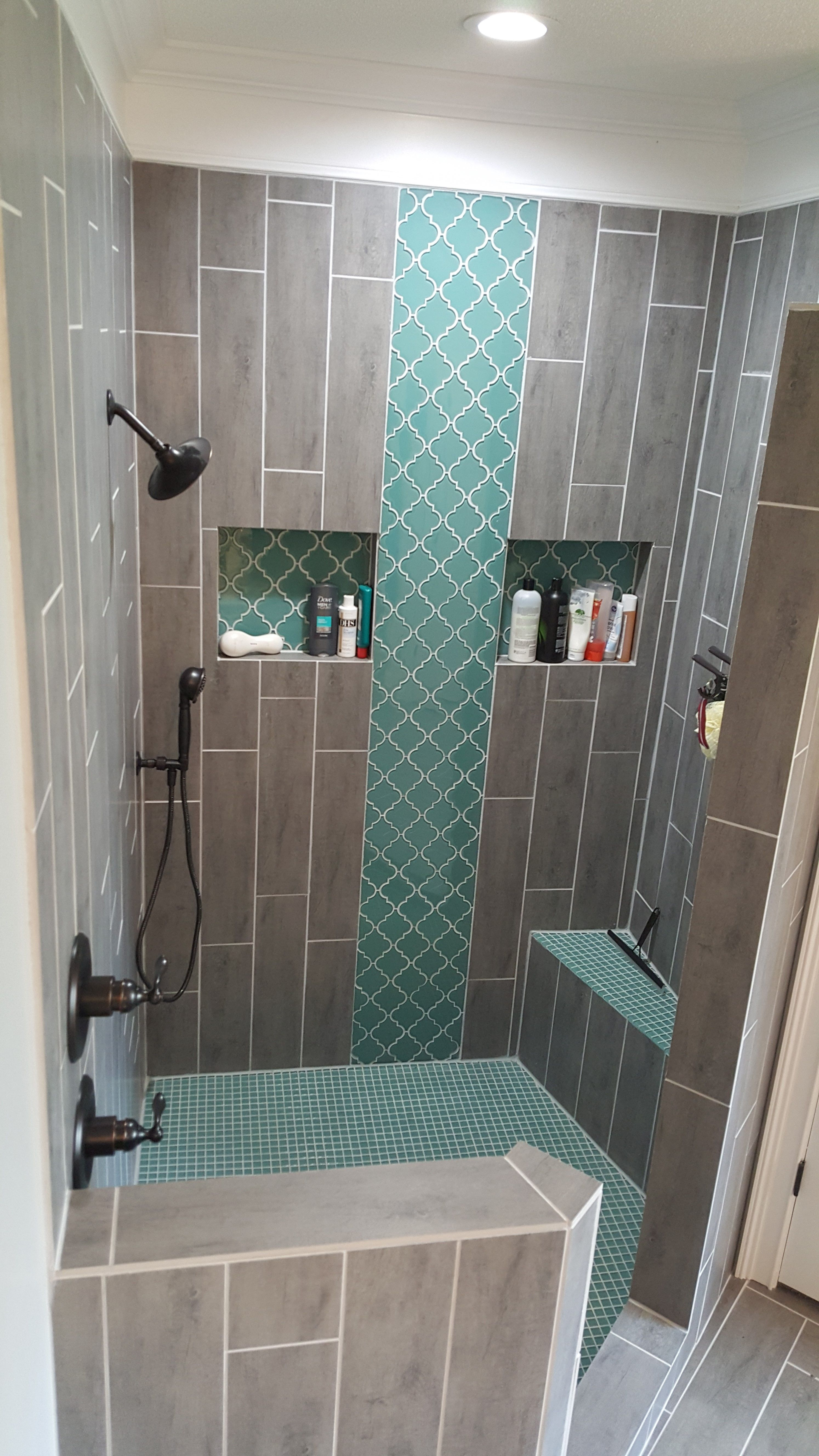 Teal Arabesque Tile Accent Teal Shower Floor Grey Woodgrain Shower Tile Home Renovation
