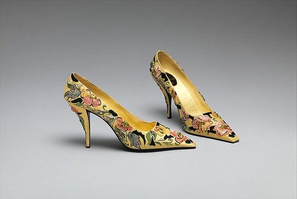 Yellow cloisonne-style embroidered silk pumps, Roger Vivier for Dior, 1955