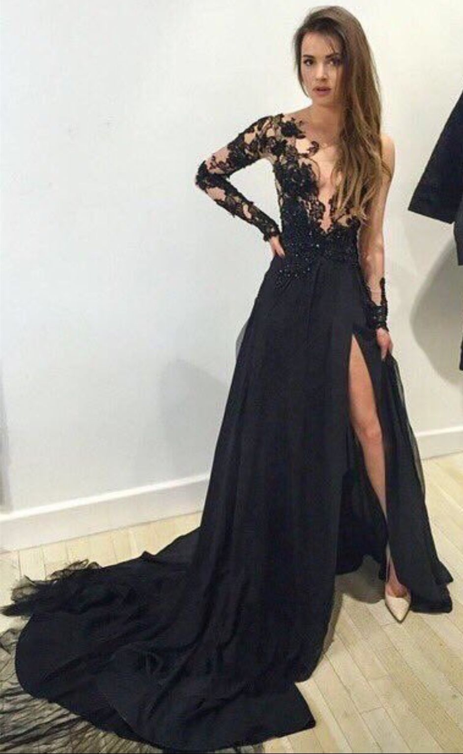 c5fa2796990 A-Line Crew Split Long Sleeves Black Tulle Prom Dress with Appliques ...