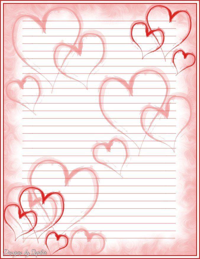 Printable Valentine Stationary Printable Heart Stationary - free printable lined stationary