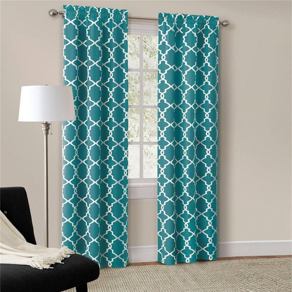 Set Of 2 Modern Trendy Interlock Geometric Curtains Panels Drapes