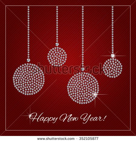 Christmas New Year Greeting Card Poster Shimmering Diamond