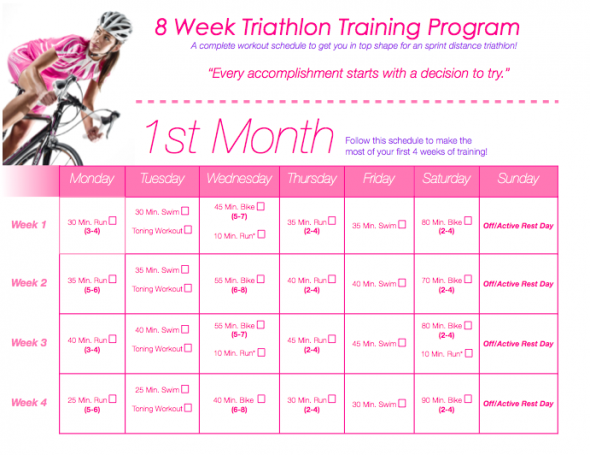 Tone It Up! Blog - TIU Triathlon Training!!!! Calendar & Workout I want to try starting this when I go back to school and have access to a pool