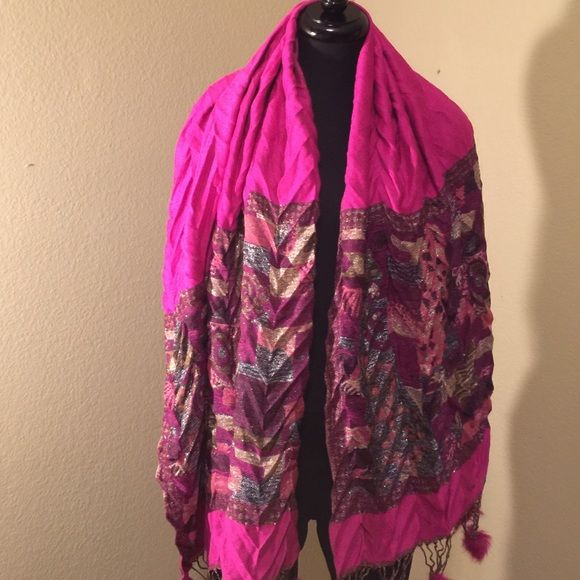 Hot pink scarf Pink scarf with black and gold accents. Furry balls at each end. Accessories Scarves & Wraps