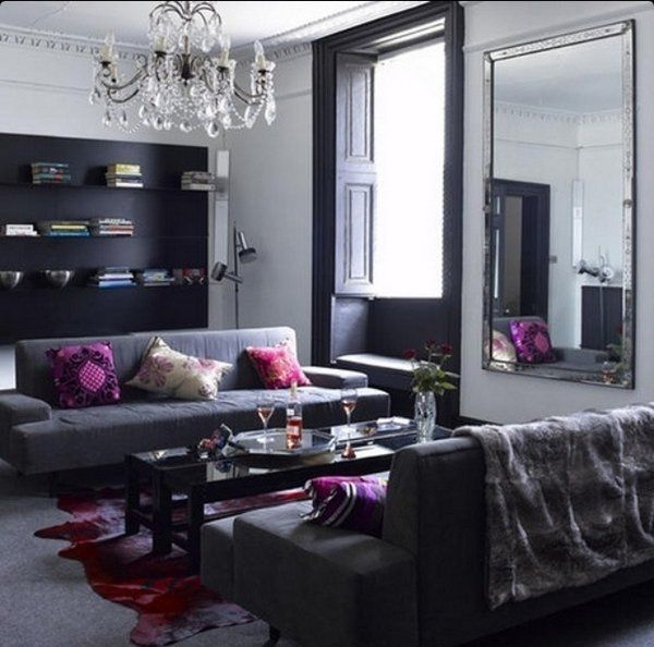Black And Grey Living Room Ideas Crystal Chandelier Purple Accents Wall Mirror Living Room Grey Gray Living Room Design Living Room Color