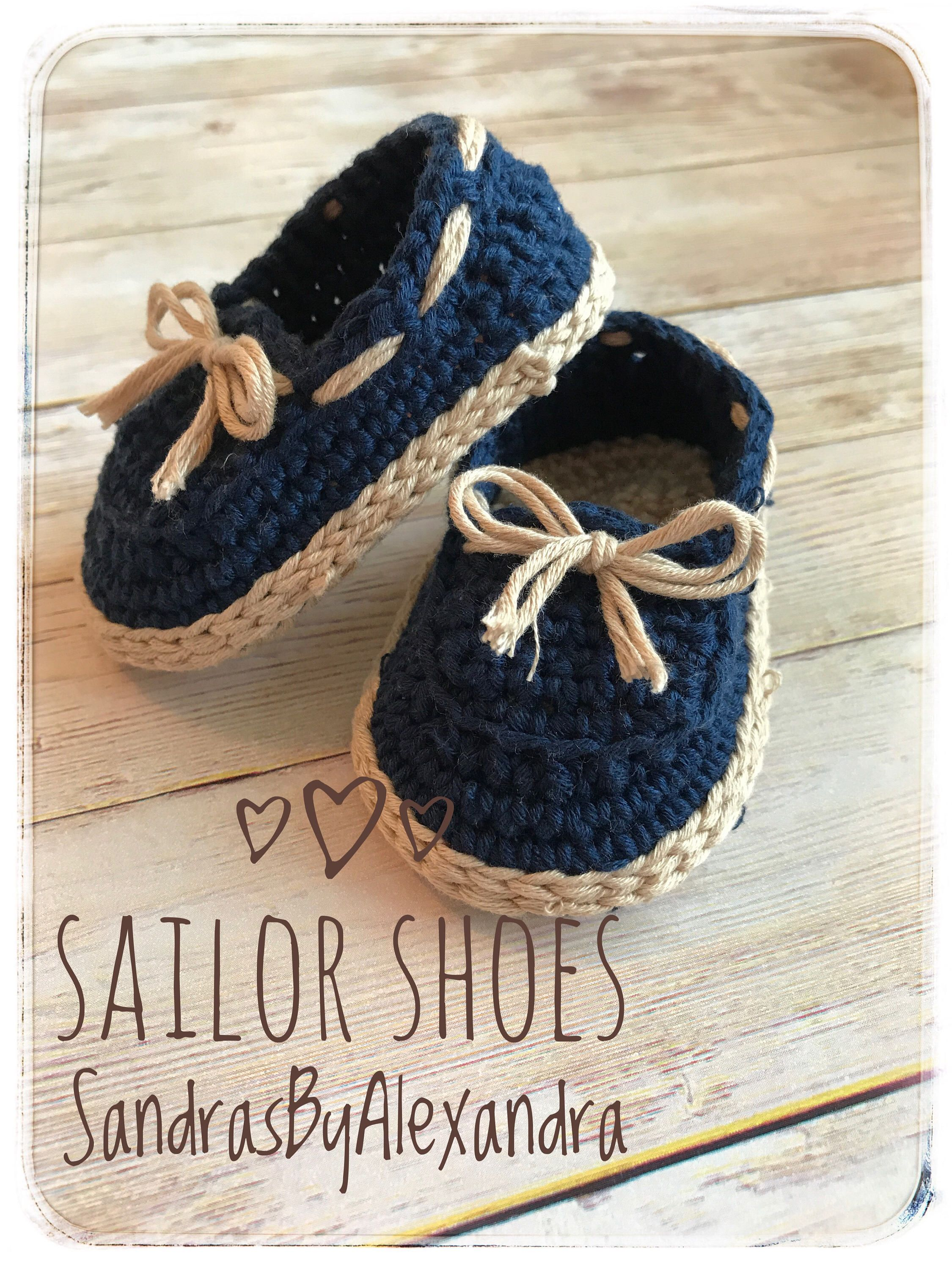 Crochet Baby boy sailor shoes baby loafers by SandrasByAlexandra on