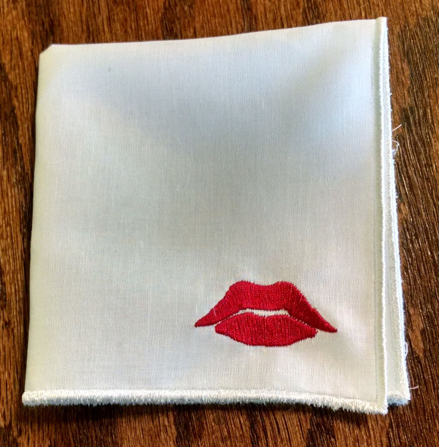 Lucious Red Lips Embroidered Handkerchief Red Lips Etsy Satin