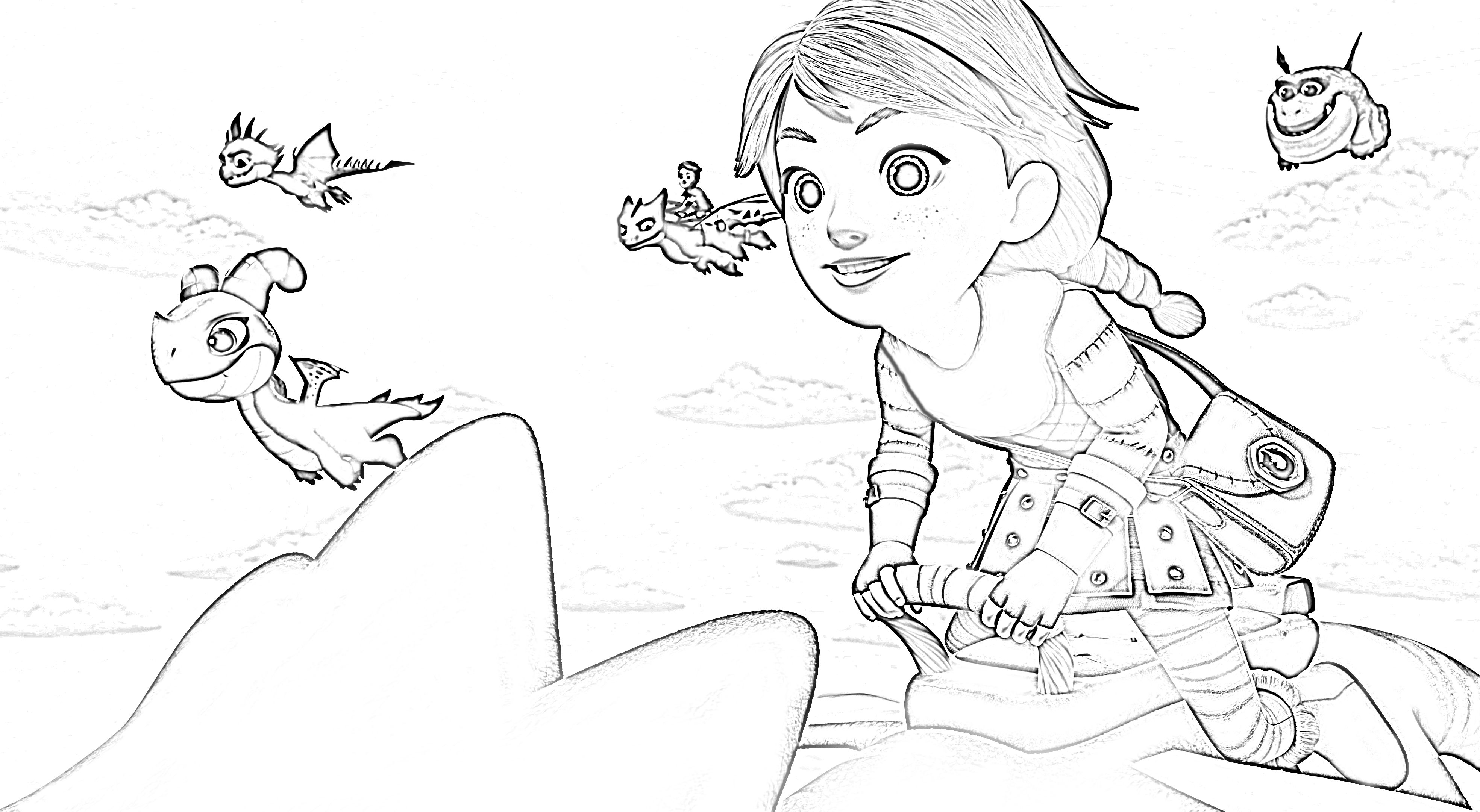 Leyla Dragons Rescue Riders Coloring Page  Dragon coloring page