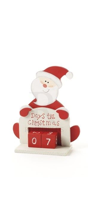 Days Til Christmas Santa Wooden @ rosefields.co.uk