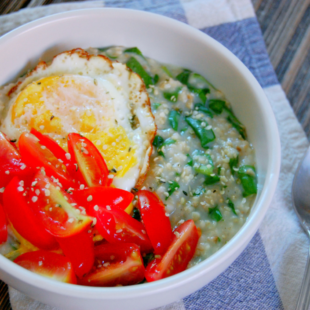 Photo of Savory Spinach Steel Cut Oatmeal |
