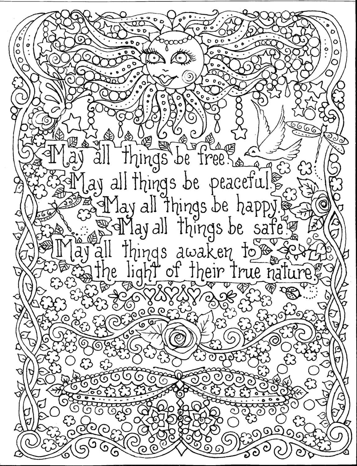 Instant Download Coloring Page 8 1 2 X 11 May All Things Be Free
