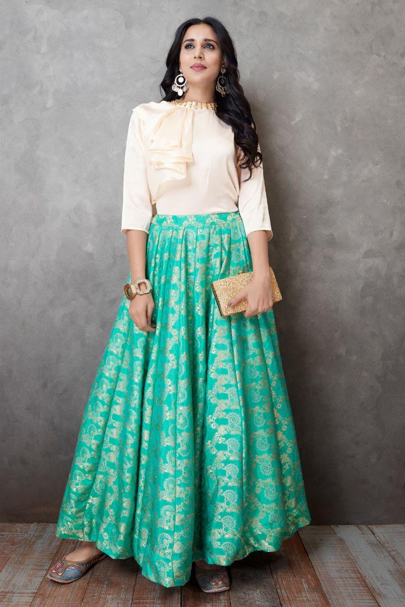 708cf787e6 Sea-Green-Banarasi-Silk-Event-Wear-Skirt -With-Satin-Silk-Stylish-Western-Look-Top-4001-28354 Whatsapp :- +91  9377709531 #wholesale #bulk #wholesalesupplier ...