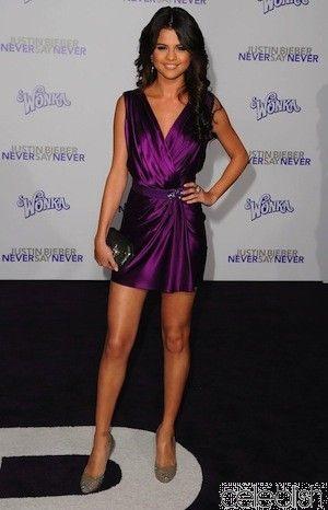 Selena Gomez Purple Mini Dress at Justin Bieber Never Say Never ...
