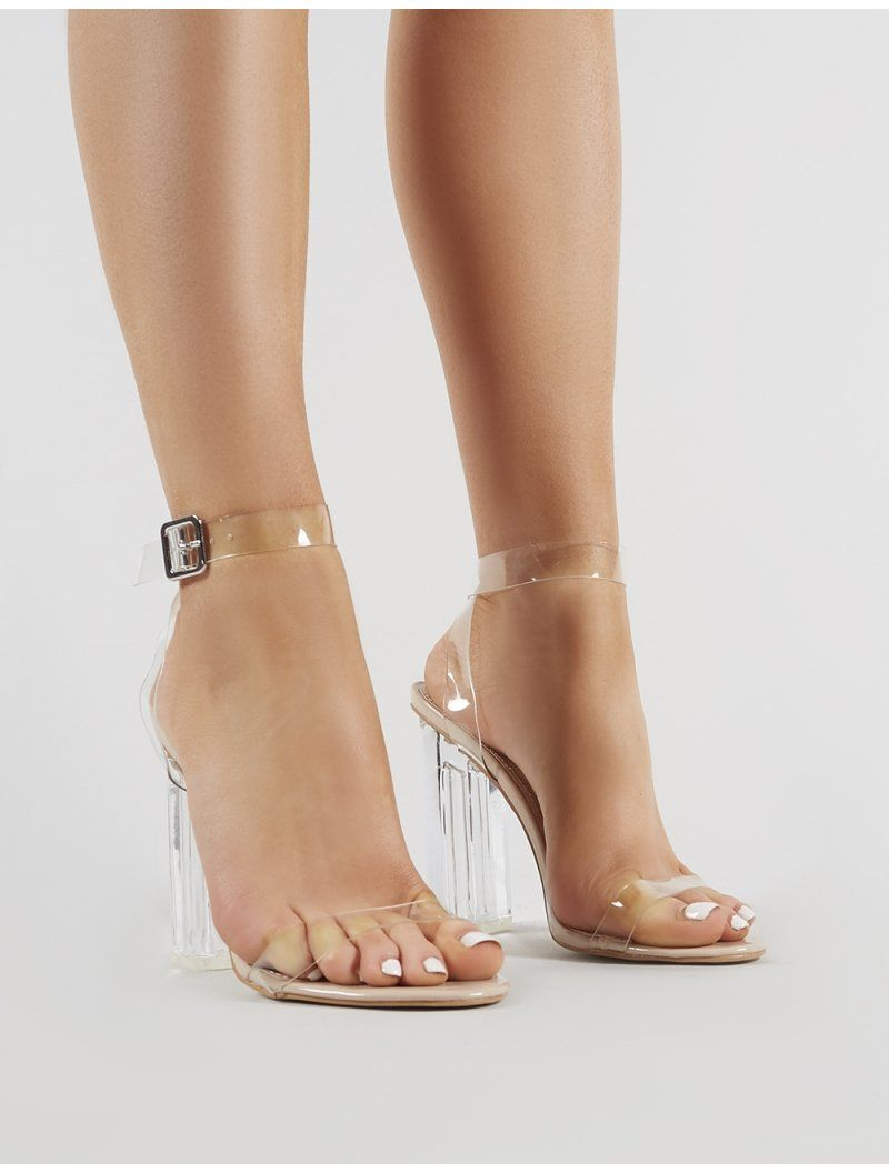 d935d93f583 Alia Strappy Clear Perspex High Heels in Nude in 2019 | Shoes | High ...