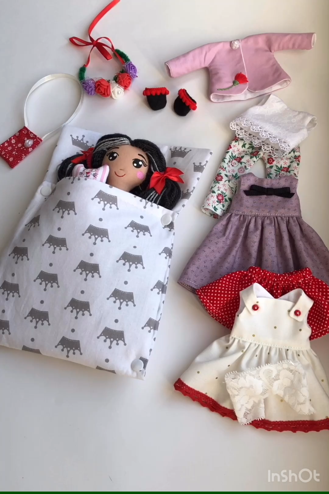 Handmade fabric doll with clothes for girls #miniaturedolls