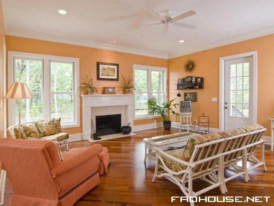 living room wall color | Peach living rooms