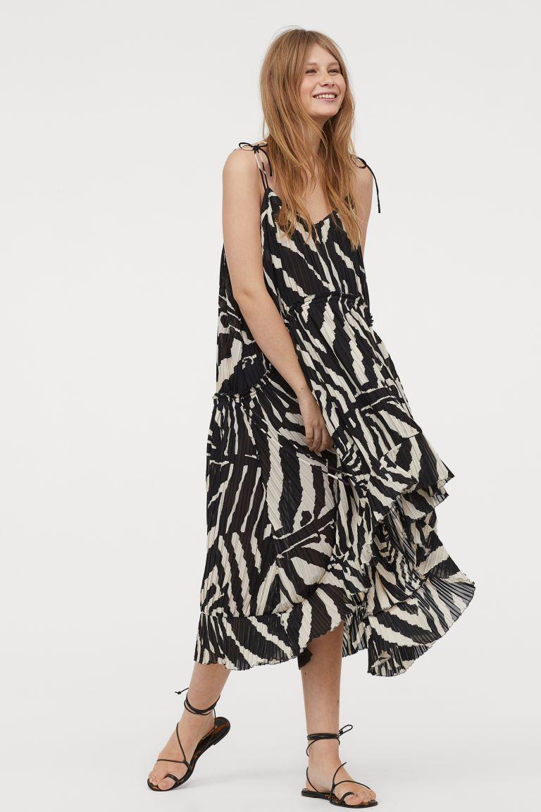 e178b4446 Vestido plisado - Negro Rayas de cebra - MUJER