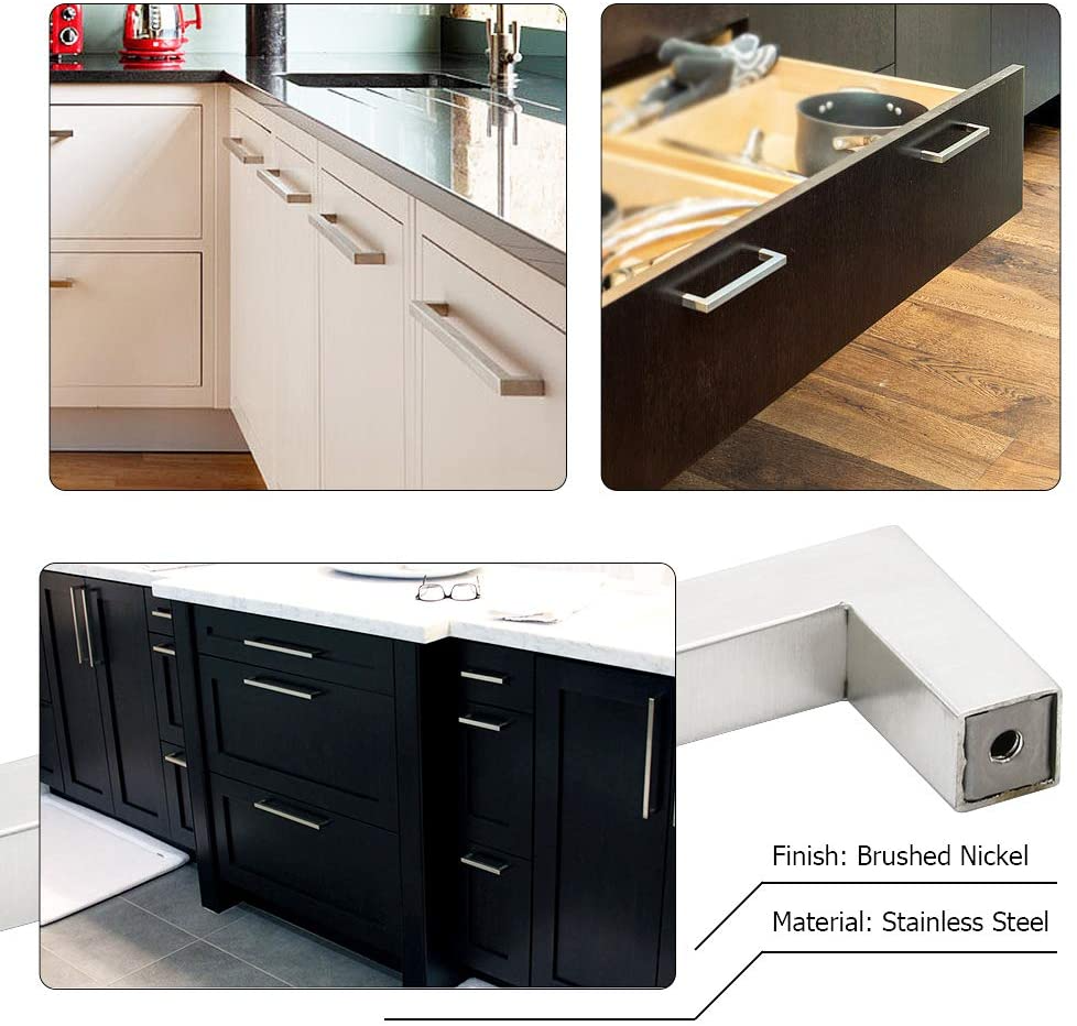 10 Pack Homdiy Kitchen Cabinet Handles Modern Drawer Pulls Hdj12sn Square Bar Pulls For Cupboard In 2020 Cabinet Handles Modern Drawer Pulls Kitchen Cabinet Handles