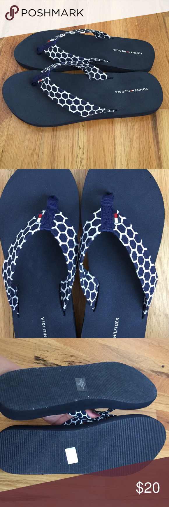 Tommy Hilfiger flip flops Navy color Tommy Hilfiger flip flops very comfortable.Perfect new condition Tommy Hilfiger Shoes Sandals