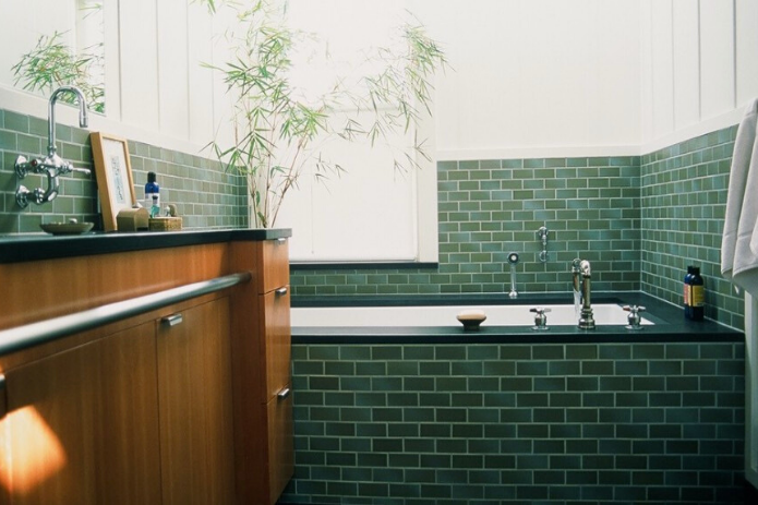 This Rich Moody Green Is Ppg S 2019 Color Of The Year Green Tile Bathroom Green Bathroom Tile Bathroom