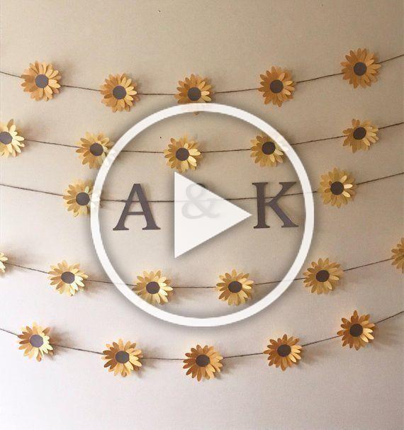 Sunflower Monogram Garland Sunflower Theme Decor Sunflowers and Twine Bridal