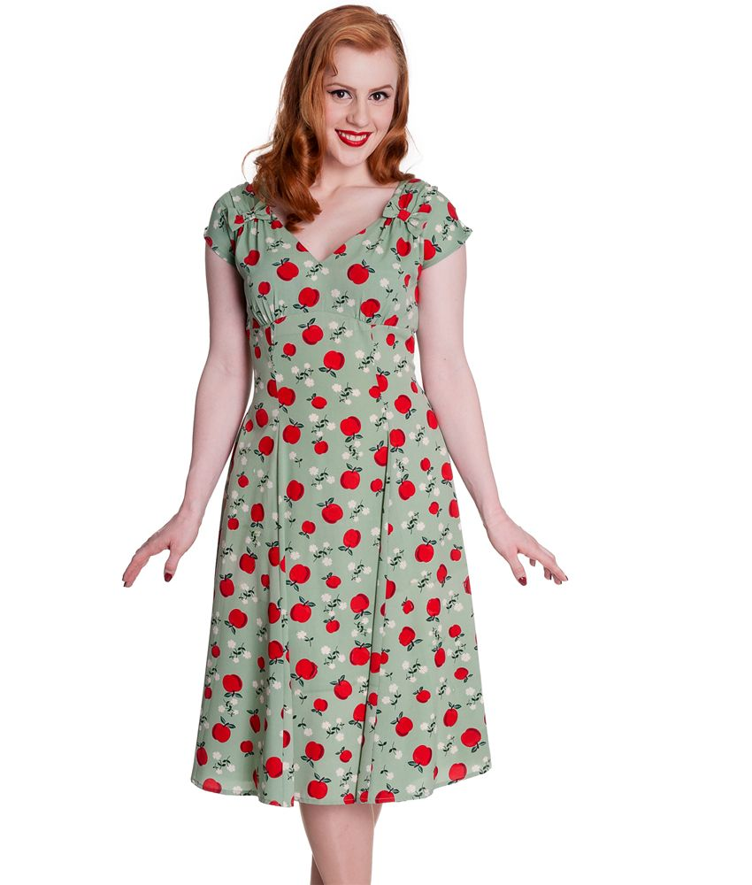 Beautiful+40s+vintage+style+summer+dress+with+pretty+apple+and+daisy+fabric+design.++V-neckline+finished+with+matching+fabric+bows+either+side.++Short+cap+sleeves.++Pleated+shoulder+seams.++Fitted+bodice+and+then+flares+out+from+the+waist.++Lightly+gathered+underbust+seam.++Visible+zip+to+centre+back+seam.++Unlined.    Machine+washable+  +  Material:+100%+Polyester+    Length+:+Knee+Length  +