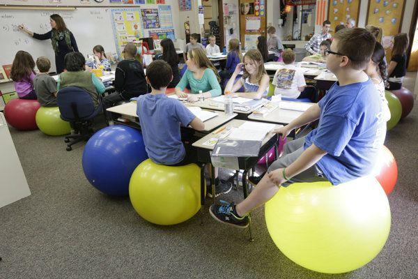 teachers ditch student desk chairs for yoga balls   student desks
