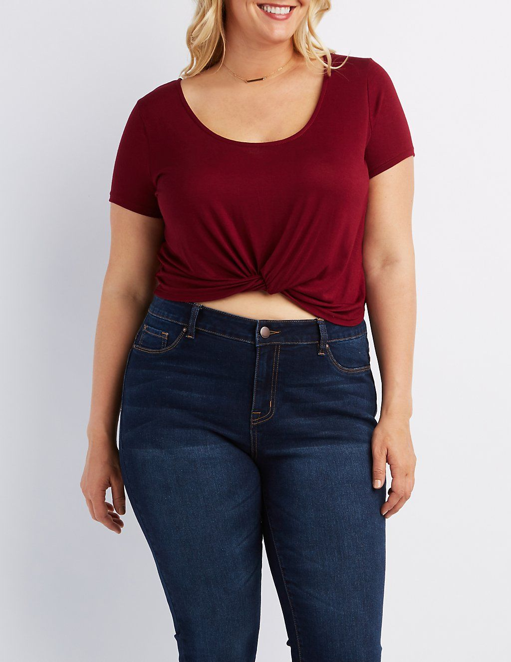 b407037eb061c Plus Size Knotted Crop Top