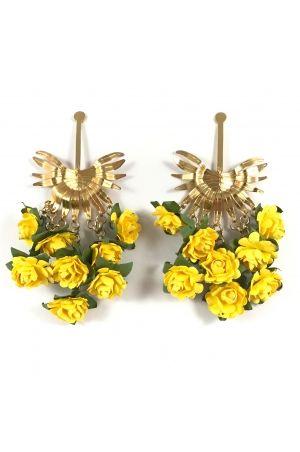 Aretes Racimo de palma amarillo Alejandra Valdivieso jewelry