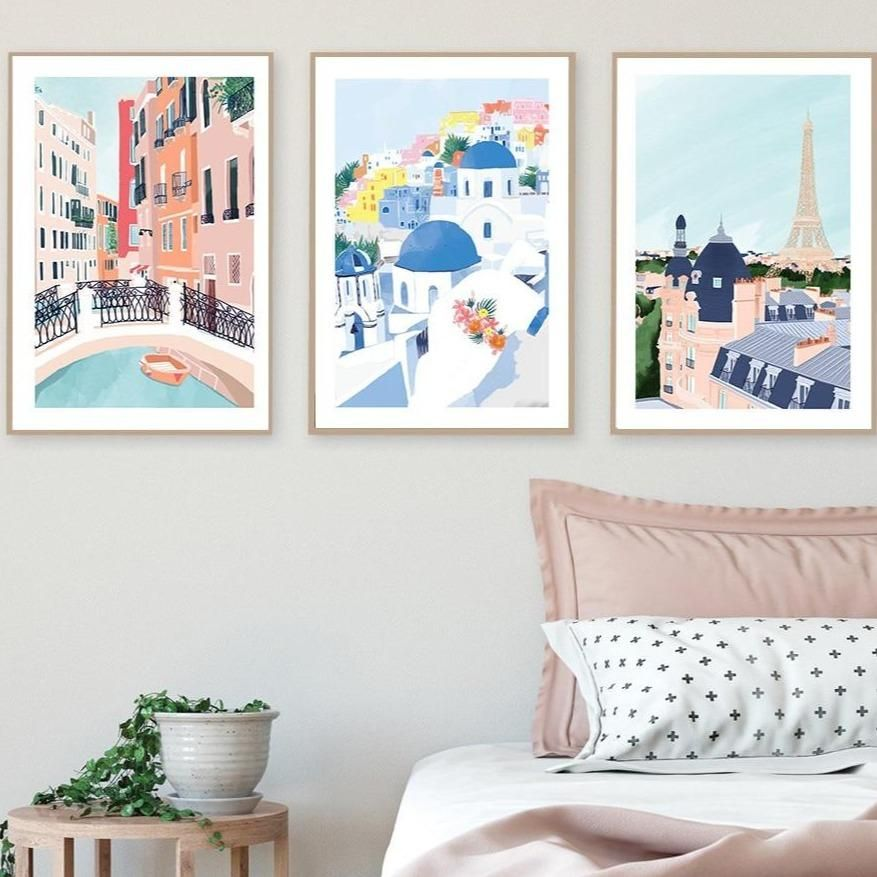 Different Famous Countries Art Print Illustrations Gallery Wallrus Free Worldwide Shipping Gallery Wall Kids Bedroom Wall Art Country Art