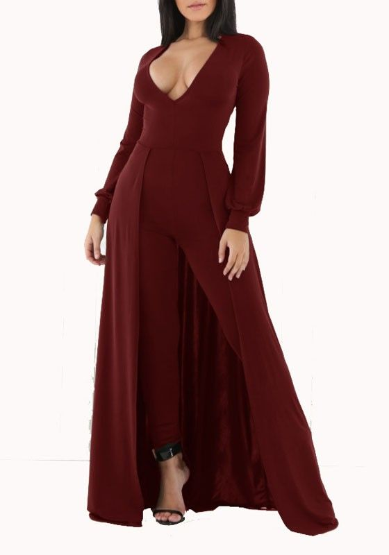 10eda9b4b9a8 Burgundy Swallowtail High Waisted V-neck Long Jumpsuit Playsuit With Maxi  Overlay