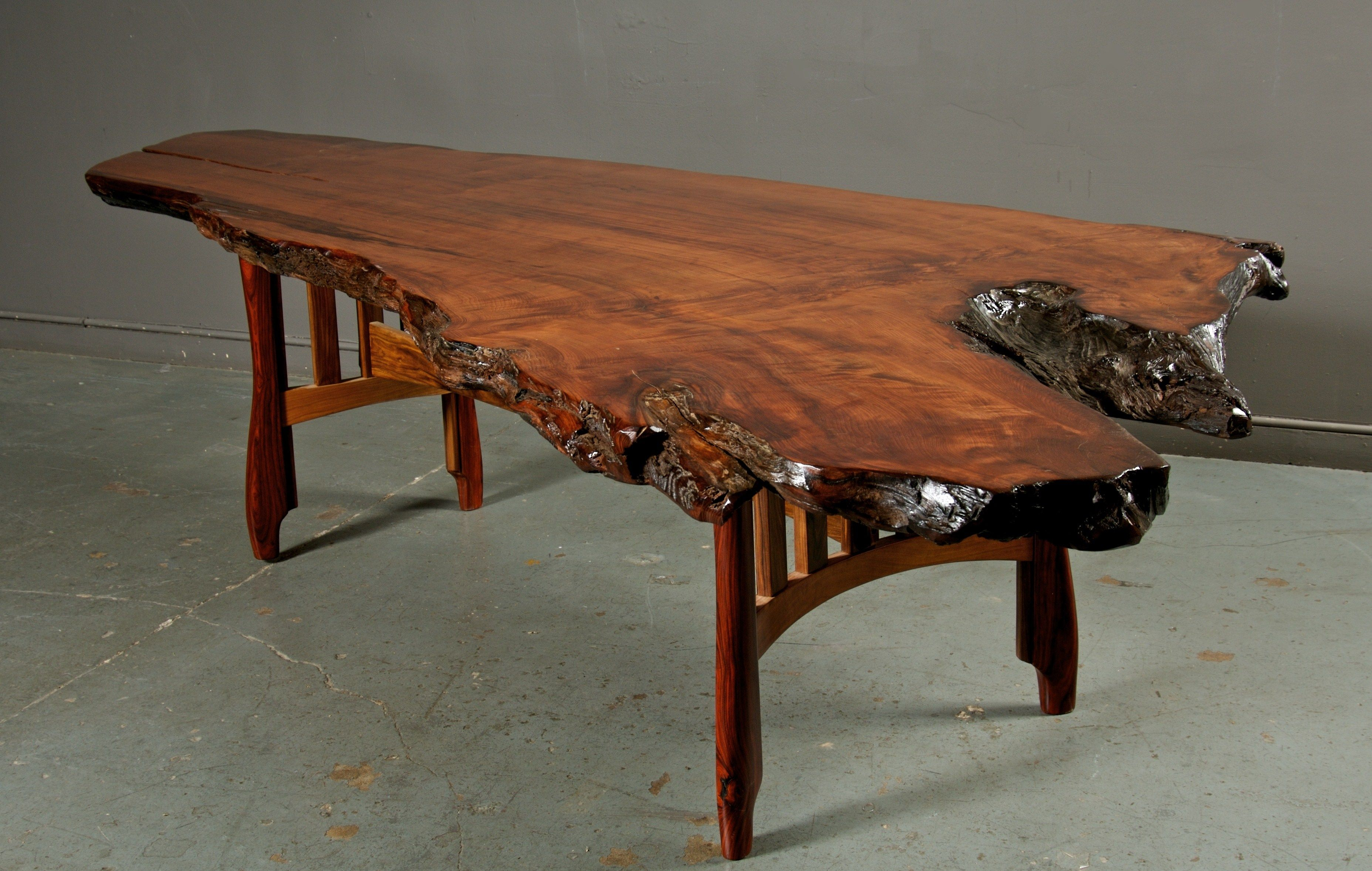 Live Edge Redwood Dining Table Bent Cherry And Cocobolo Base 56 W X130 L Www Madeinjulian Redwoodburltables Interiordesign