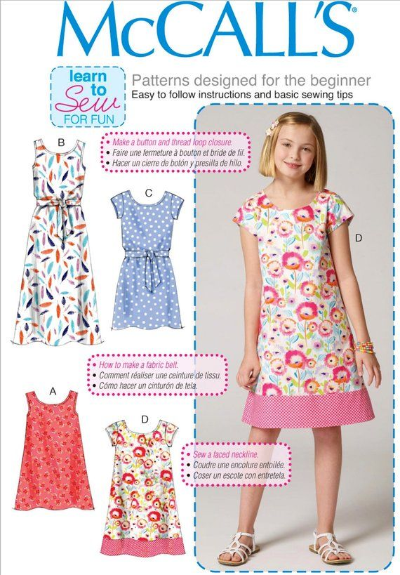 Sewing Pattern Girls' Dress Pattern, Learn to Sew Girls' Dress