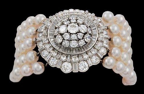 Platinum 5 row Pearl & Diamond Bracelet, 6mm/7mm pearls - Yafa Jewelry