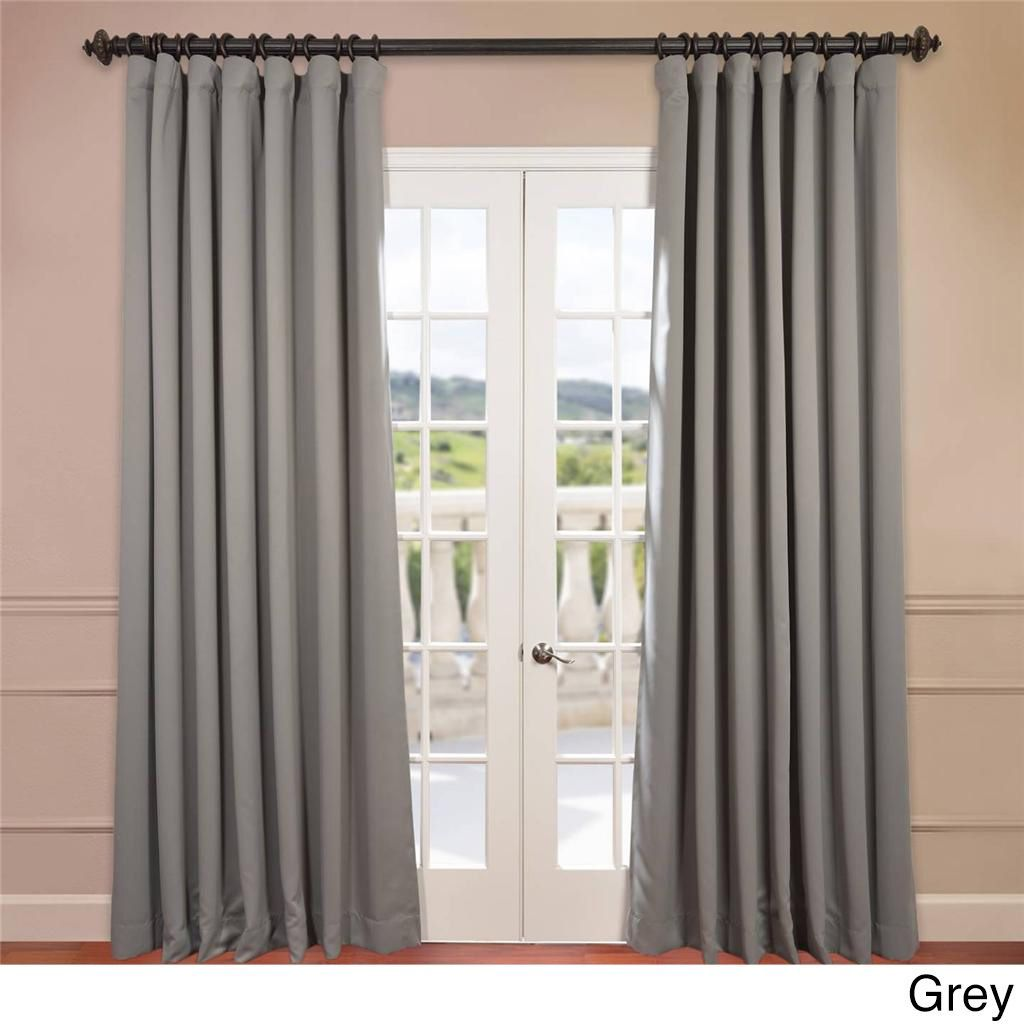 Exclusive Fabrics Extra Wide Thermal Blackout 120 Inch Curtain Panel  (Charcoal), Grey, Size 100 X 120 (Polyester, Solid)