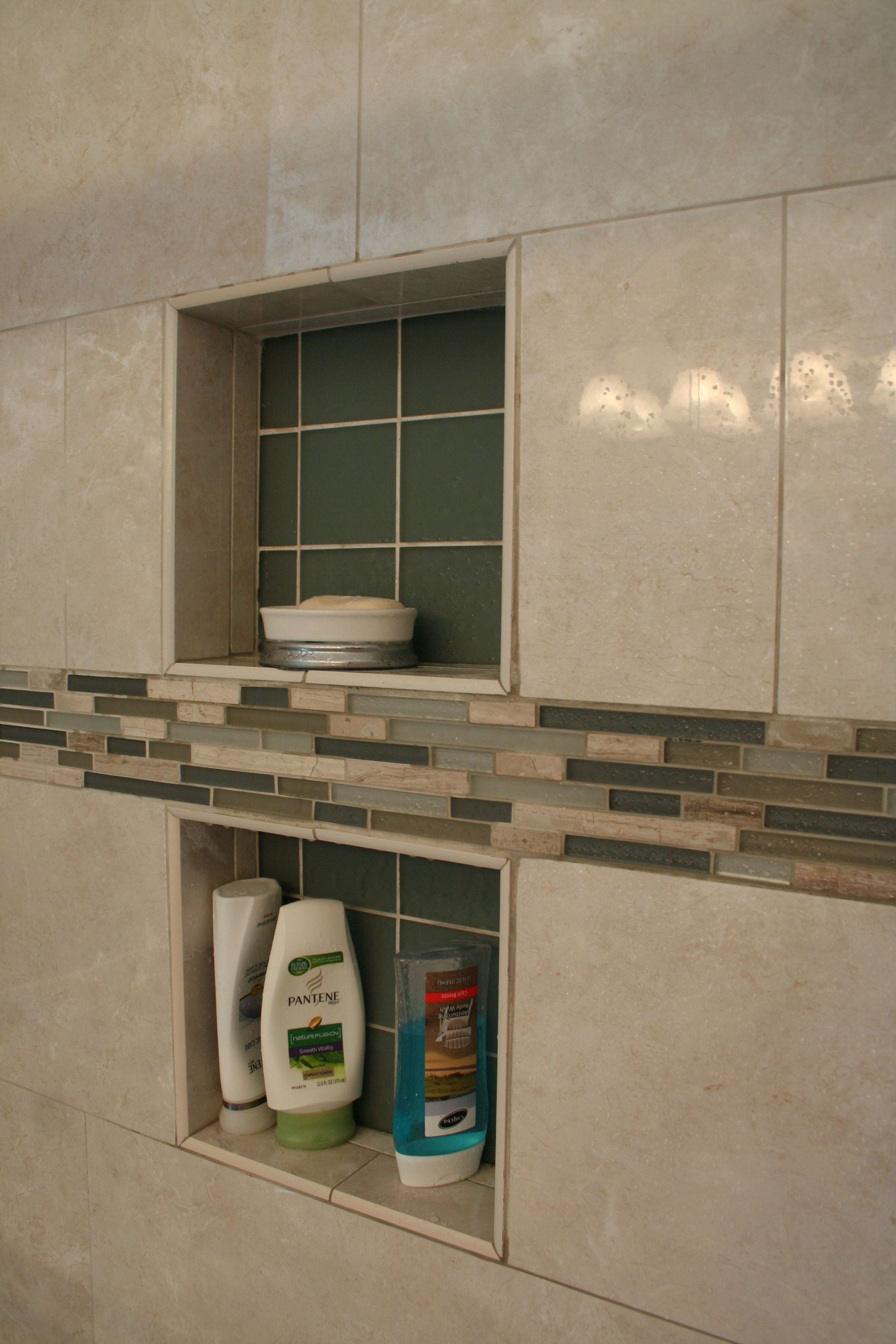 Florentine Porcelain Tile And Glass Mosaic Accent Strips Highlight This  Bathroom Remodel. The 2 Shower Niches Are Great Storage For All The Shampoo  Bottles ...