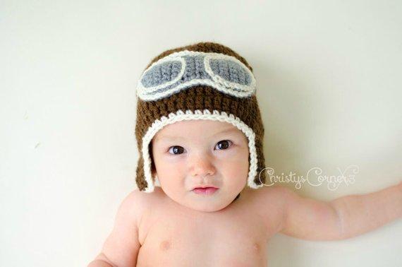 9703c24aa Crochet Aviator Hat, Newborn Aviator Hat, Baby Pilot Hat, Crochet ...