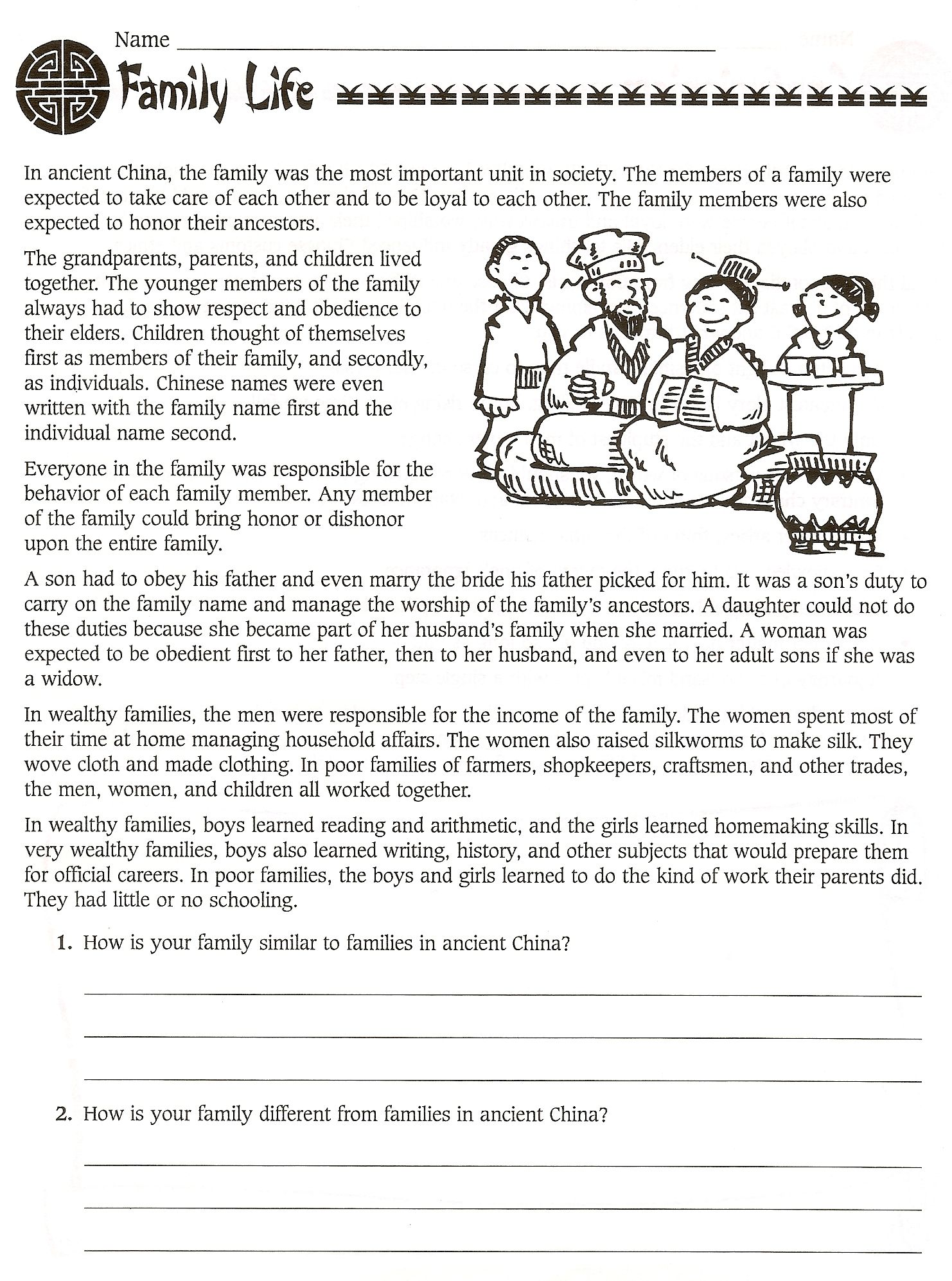 Worksheets For Sixth Grade : Worksheet ancient china worksheets grass fedjp