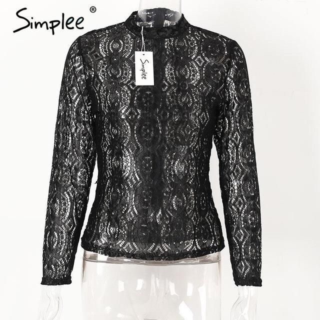 Transparent Lace Blouse Shirt Elegant Long Sleeve Cool Tops Summer