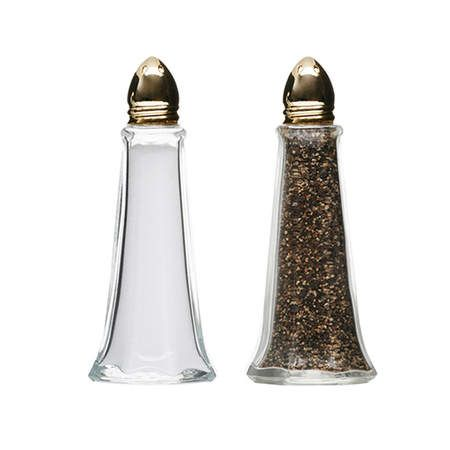 Salt & Pepper, Glass Tower WGold Cap