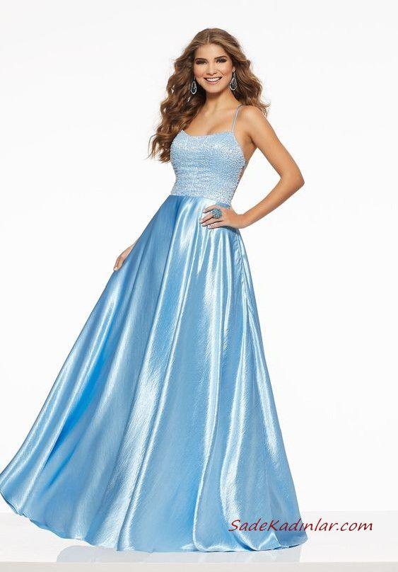 74bdadb786043 Abiye Elbise Modelleri Bebek Mavisi Saten Uzun Askılı Sırt Dekolteli Kloş  Etekli İşlemeli #moda #fashion #fashionblogger #eveninggowns  #eveningdresses ...