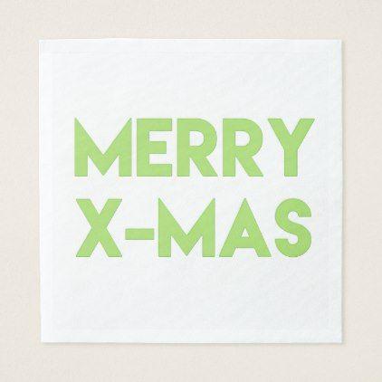 Merry XMas Modern Green Typography Christmas Paper Napkin  Minimal