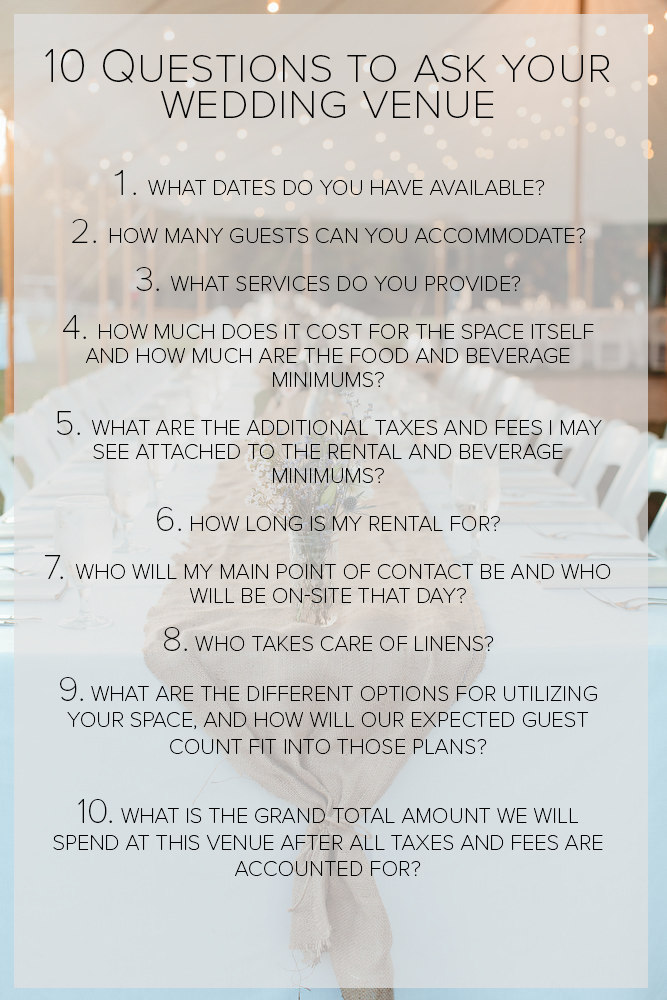 10 Questions To Ask Your Wedding Venue Before Signing A Contract Junebug Weddings Wedding Planning Guide Wedding Planning Tips Future Wedding Plans