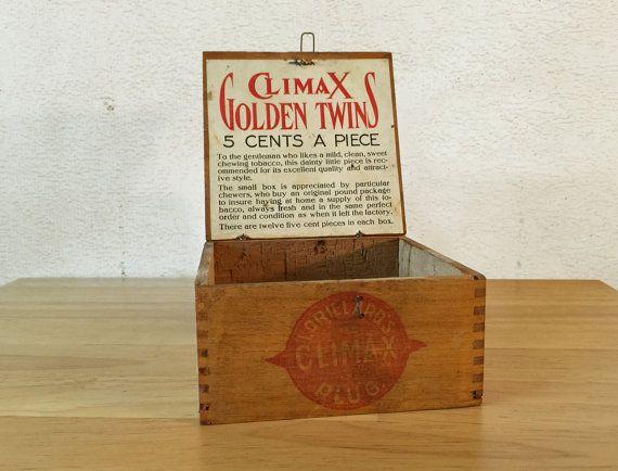 Climax Golden Twins Wood Cigar Display Box Lorillard S Climax Plug Tobacco General Store P Lorillard Company Primitive Rustic Decor Plug Tobacco Display Boxes Unique Storage