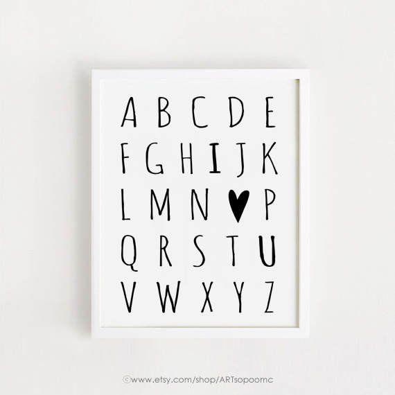 Alphabet Printable Poster Black and White decor simple Cute