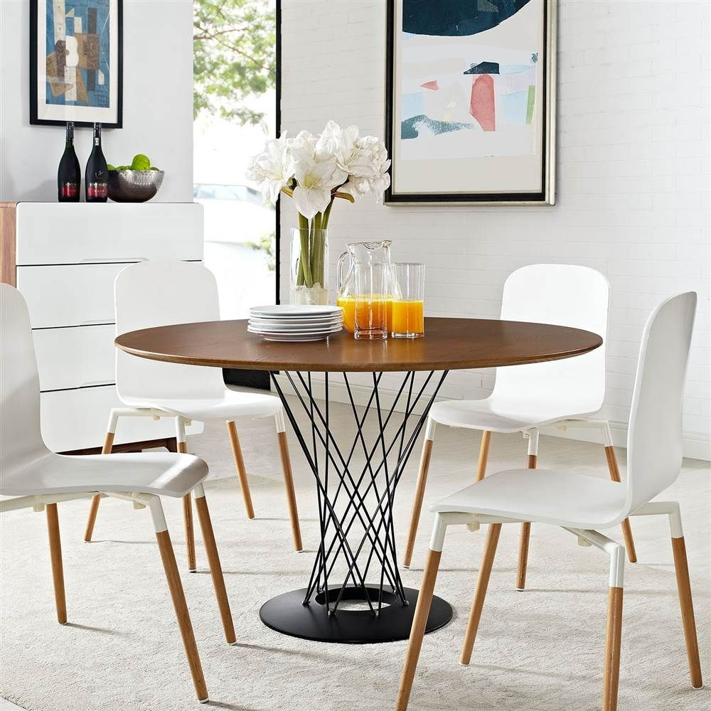 Round Wood Top Dining Table In Walnut Metal Base Dining Table Modern Dining Room Set Dining Table