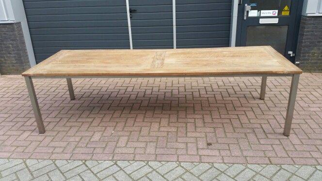 Rvs tafel onderstel met blad van teak hout Www