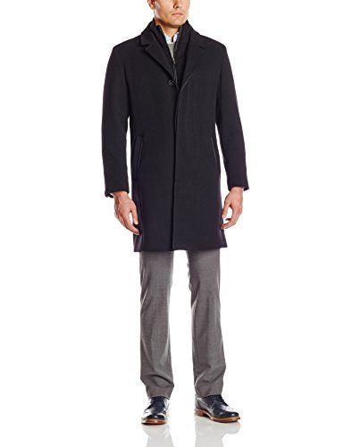 [+2]  Cole Haan Men's Italian Twill Topper Coat with Leather Trim and Removable Merino Wool Bib, Black, Large