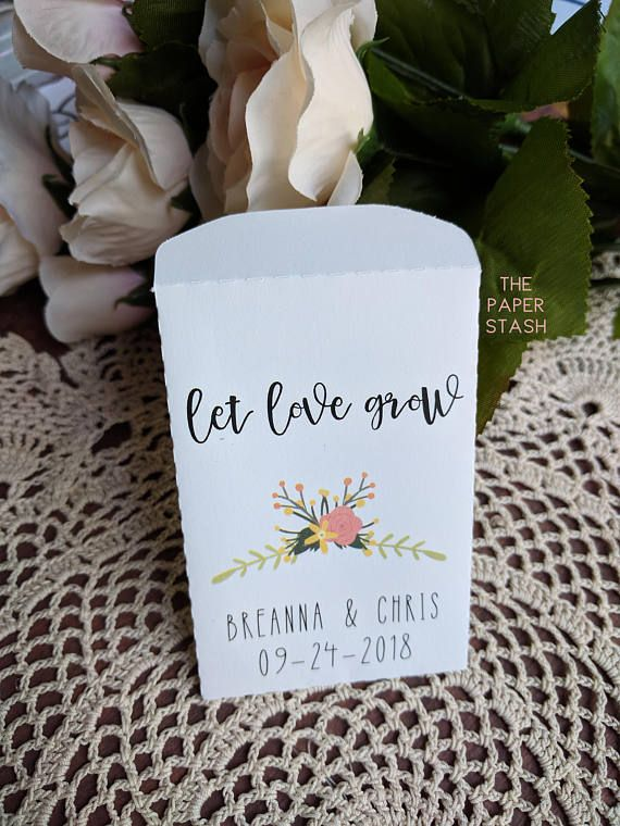20 Custom Seed Packet Wedding Favor Let Love Grow Packets