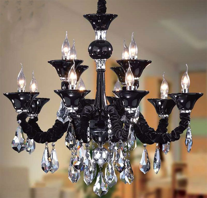 Gothic Black Chandelier Light With Clear Crystal Ornament